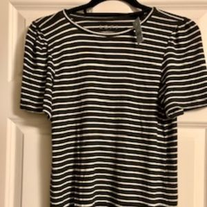 Loft olive green and white striped short sleeve